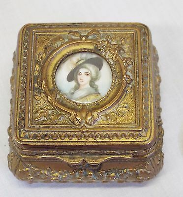 Antique VICTORIAN Small Ornate Brass HP PORTRAIT ON PORCELAIN Trinket RING BOX