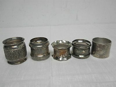 "5 ANTIQUE SILVERPLATE NAPKIN RINGS with ENGRAVED ""NELLIE"" AND MONOGRAM"