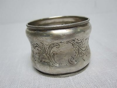 ANTIQUE STERLING SILVER NAPKIN RING with ENGRAVED ACANTHUS LEAF SWIRL