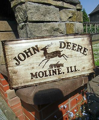 - JOHN DEERE Moline ILL. - official LARGE metal Wall Sign in wood design