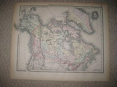 Large Antique 1886 Northern America Canada Alaska Colton Handcolor Map Railroad