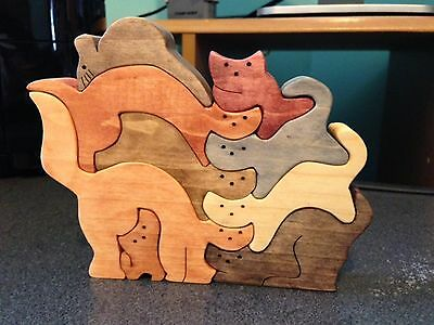 Wood Stacked CATS Puzzle - Handmade - 9 Pieces - Stained In Various Colors