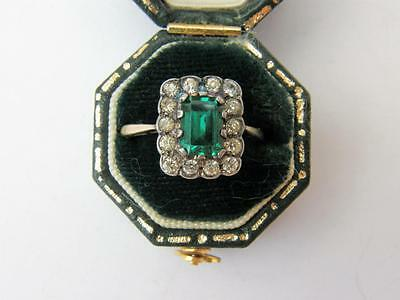 STUNNING Antique Art DECO 9ct GOLD Emerald SPINEL Diamond Paste Cocktail RING
