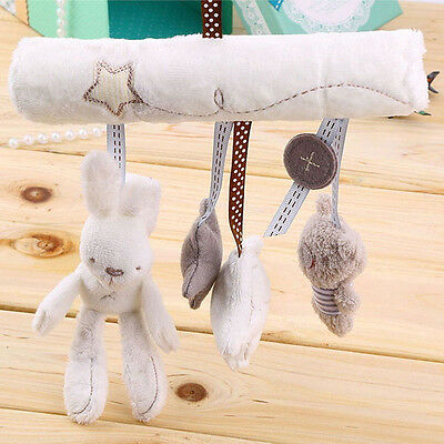 Soft Kids Baby Crib Cot Pram Hanging Rabbit Bear Rattle Bed Stroller Bell Toy US