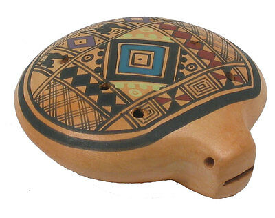 Atlas Inca OCARINA from PERU. Colourful pottery 8-hole Ocarina from Hobgoblin