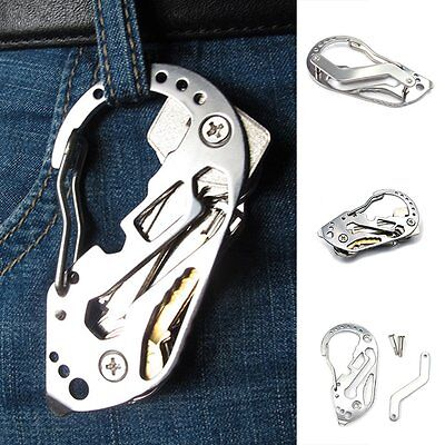 Mini Keychain Screwdriver Wrench Carabiner EDC Pocket Multi Function Tools