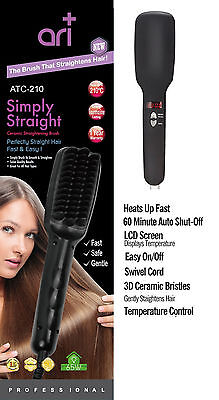 Simply Straight Hair LCD Digital Brush Electric Ceramic Hair Straightening Comb