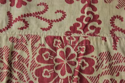 French  Antique Fabric material 1790 -1810  block printed design material 18th