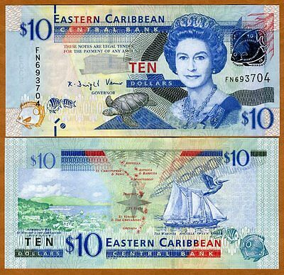 Eastern East Caribbean, $10, ND (2012) , Pick 52, UNC > Upgraded