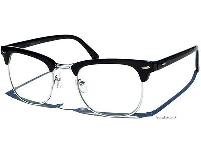 Half Frame Soho Black and Silver Retro Browline Vintage Style Clear Lens Glasses
