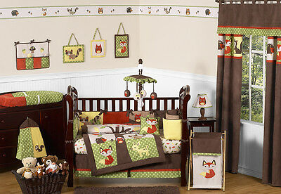 Sweet Jojo Designs Forest Animals Owl Baby Boy Crib Bedding Set for Newborn Room