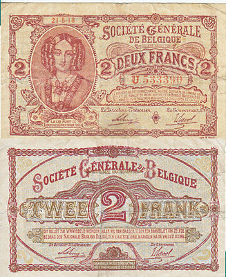 1918 2 Francs Banknote from Belgium in VF-EF Condition.