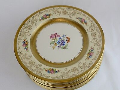 EDGERTON Gold Gilt Floral Cabinet Dinner Plates Set of 12