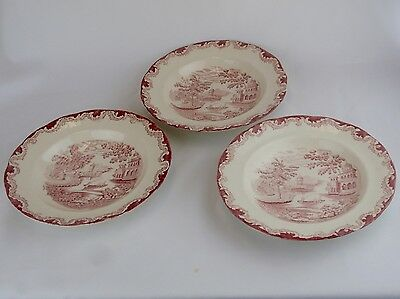 RORSTRAND Sweden Red Transfer BENGALI Coupe Soup Bowls Set of 3