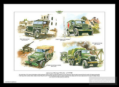 US WW2 Print Willys Jeep Dodge T214  Ambulance Dodge Weapons Carrier GMC Cargo