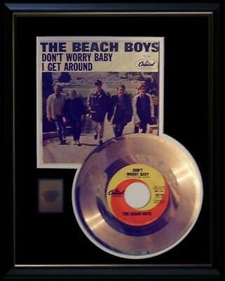 Beach Boys Don't Worry Baby Rare Gold Record Disc & 45 Rpm Sleeve