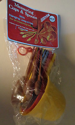 Vintage measuring cups & spoons JUSTEN brand NEW in pkg Harvest Fall colors NOS
