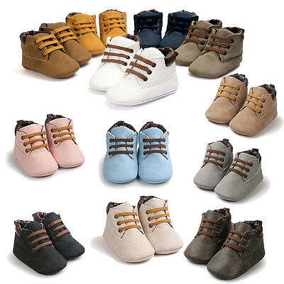 Toddler Girls Boys Newborn Baby Soft Sole Lace-up Crib Shoes Prewalker Sneakers