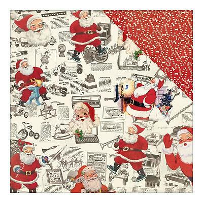 """Authentique Retro Christmas #4 NEWSPAPER CLIPS 12x12"""" D/sided Scrapbooking Paper"""