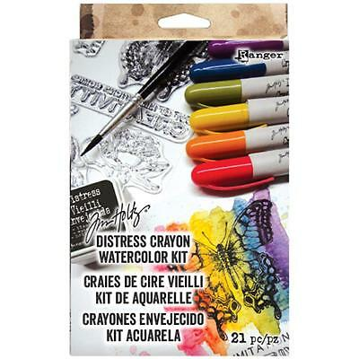 Tim Holtz Distress Watercolour Kit - 6 Crayons, stamp, ink, acrylic block