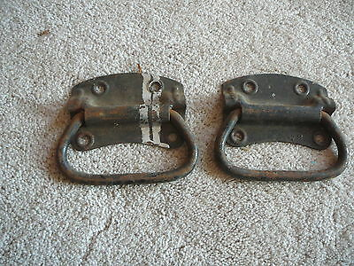Antique Pair Steel Salvaged Drop Handles - Carpenter  Box Trunk Chest -  #44