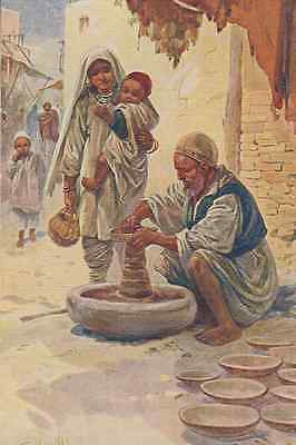 Street Pottery Potter Indian Making India Antique Oilette Painting Old Postcard
