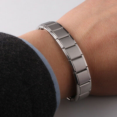 Mens Germanium Bracelet Polished Stainless Steel Bangles Magnetic Therapy