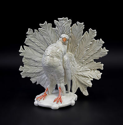 a3-41463 Porcelain figurine White Peacock dove ENS Thuringia
