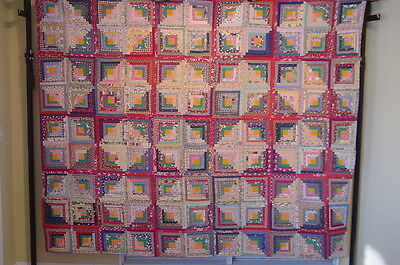 """ANTIQUE QUILT  LOG CABIN VINTAGE HAND PIECED AND HAND QUILTED 92"""" by 80""""  WOW !"""