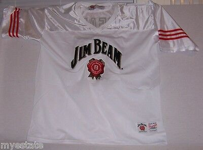 New JIM BEAM 80 Officially Licensed White Red JERSEY Large Shirt Top VERY NICE!