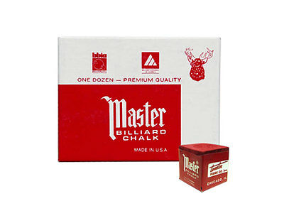 Master Billiard/Pool Cue Chalk - Red - 1 Pack/12 Pieces