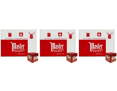 Master Billiard/Pool Cue Chalk - Red - 3 Pack/36 Pieces