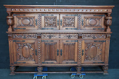 Antique French Tudor Cabinet Dining Furniture BEAUTIFUL Carved Oak Model