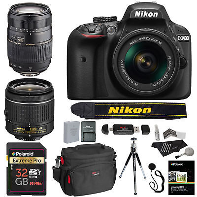 Nikon D3400 DSLR Camera w/ 18-55 Lens + Tamron 70-300 Macro AF Lens Value Bundle