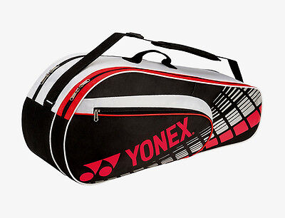 YONEX 3 Racquet Bag - Tennis & Badminton Racquet Racket Bag - Black/Red -Reg $45