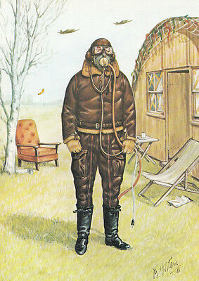 WW2 Wartime Uniform Royal Air Force Aircrew Clothing Rare Painting Postcard