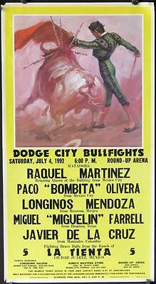 BF85 DODGE CITY BULLFIGHTS Mexican special poster, art of matador & angry bull