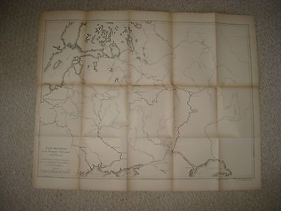 Huge Antique 1894 Russia Maritime River Map St Petersburg Astrakhan Moscow Rare