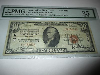 $10 1929 Gloversville New York NY National Currency Bank Note Bill #3312 VF PMG!