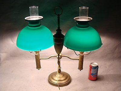 Antique Lg. Emeralite Brass Double Cased Green Glass Shade Student Lamp BEST!