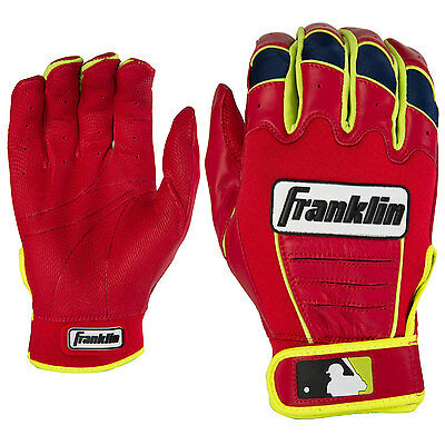 Franklin CFX Pro Adult Baseball/Softball Batting Gloves, Red/Optic Yellow, Large