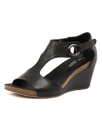 NEW $169 Top End Black Leather Wedges 'Rome' Heel Sandals Women size Best Seller