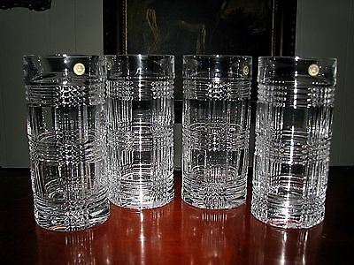 Set of (4) RALPH LAUREN Glen Plaid Crystal Highball/ Whiskey Glasses
