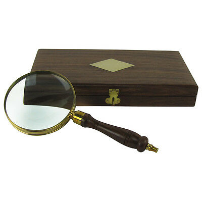 "4"" 5x Magnifier Antique Brass&Wood Turned Hand Lens Magnifying Glass&Desktop Box"
