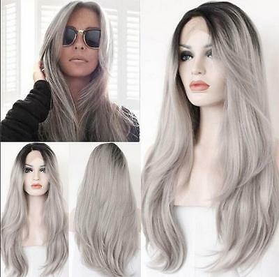 "Fashion 20"" Ombre Gray Lace Front Wig Heat Resistant Natural Straight Long Hair"