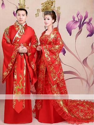 Ancient Womens Mens Wedding Chinese Tang Dynasty Costume Clothes Dress Princess