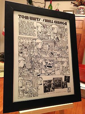 "Framed Original & Rare Tom Waits ""small Change"" Lp Album Cd Promo Ad"