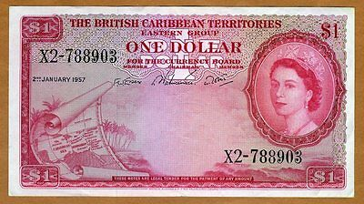 British Caribbean Territories, $1, 2-1-1957, QEII, P-7b,  VF