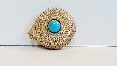 Estee Lauder Gold Rope Solid Perfume 30% Full Youth Dew Turquoise Cabochon 1968