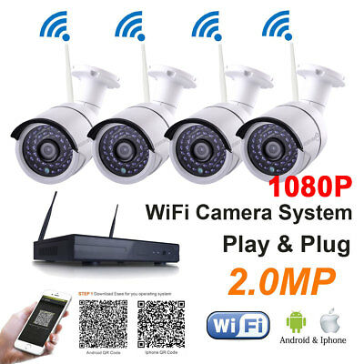 4CH HDMI NVR HOME SECURITY SYSTEM 1920*1080P CCTV wifi Wireless IP D/N Camera NB